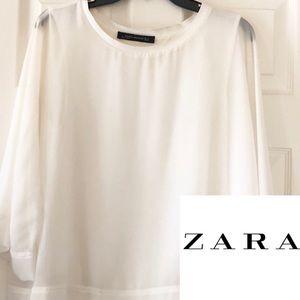 ZARA White Blouse Size Medium